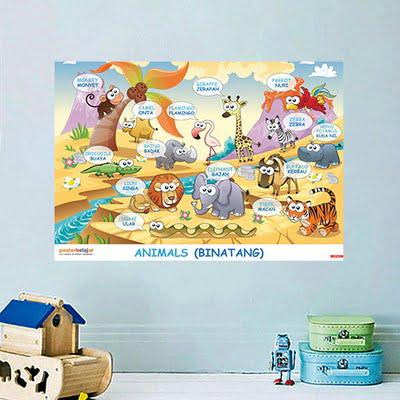 Mainan Anak Edukatif_Poster Pendidikan_Poster Belajar Binatang Tipe 01