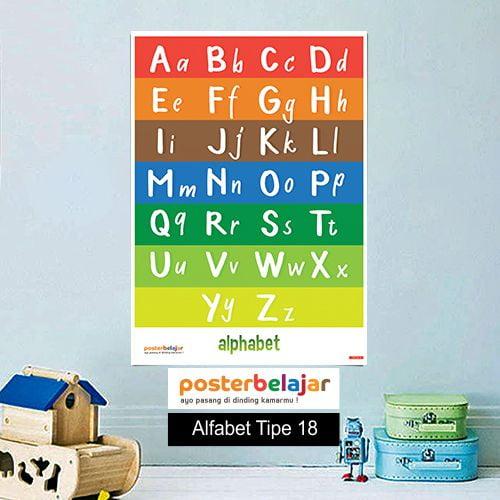 Alfabet tipe 18 poster belajar mainan anak edukatif edukasi bahasa inggris alat peraga