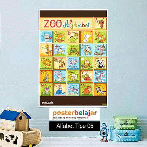Alfabet tipe 6 poster belajar mainan anak edukatif edukasi bahasa inggris alat peraga