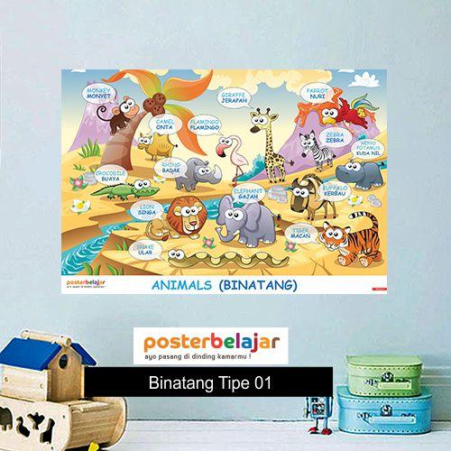 Binatang tipe 1 poster belajar mainan anak edukatif edukasi bahasa inggris alat peraga
