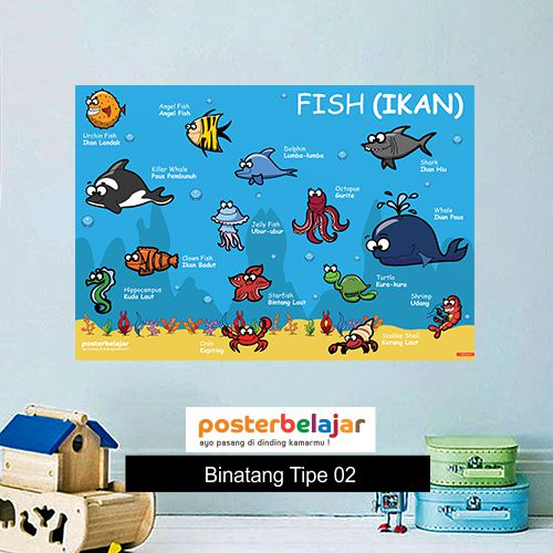 Binatang tipe 2 poster belajar mainan anak edukatif edukasi bahasa inggris alat peraga