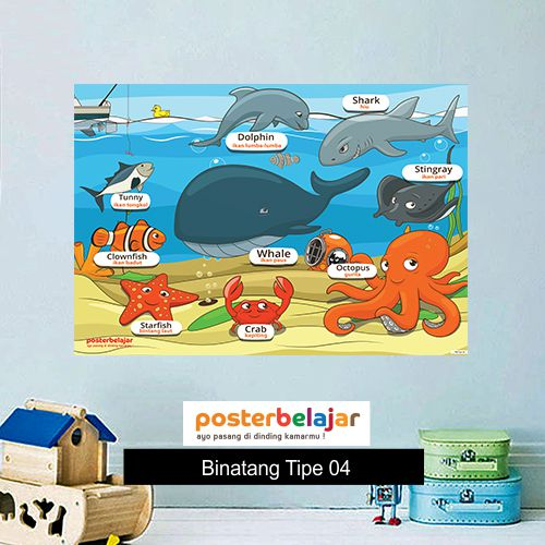 Binatang tipe 4 poster belajar mainan anak edukatif edukasi bahasa inggris alat peraga