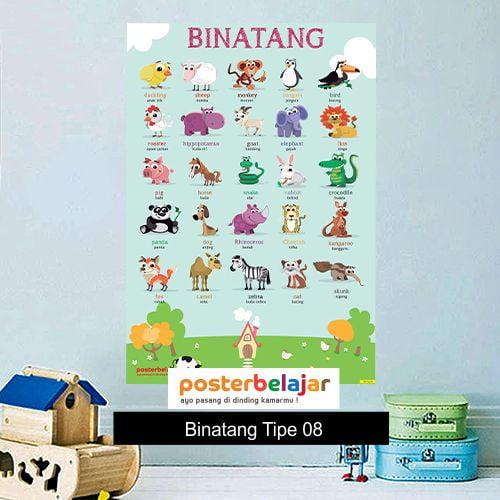 Binatang tipe 8 poster belajar mainan anak edukatif edukasi bahasa inggris alat peraga
