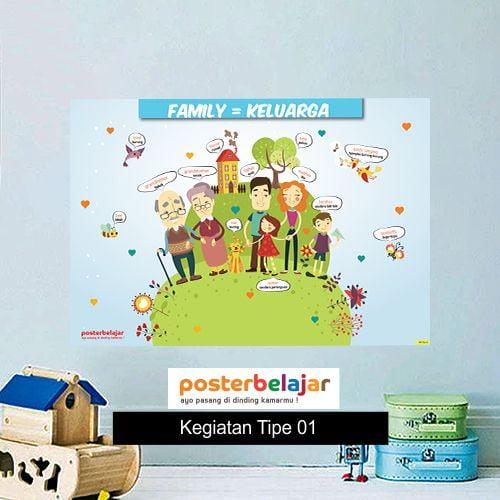 Kegiatan Tipe 1 poster belajar mainan anak edukatif edukasi bahasa inggris alat peraga