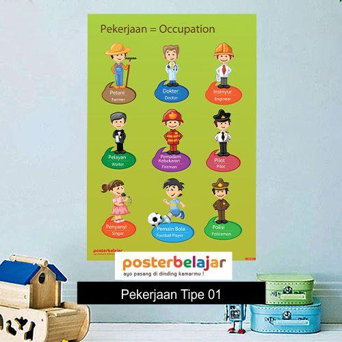 Pekerjaan Tipe 1 poster belajar mainan anak edukatif edukasi bahasa inggris alat peraga