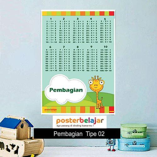Pembagian Tipe 2 poster belajar mainan anak edukatif edukasi bahasa inggris alat peraga 34