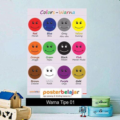mainan anak edukatif poster pendidikan Poster Belajar tipe warna