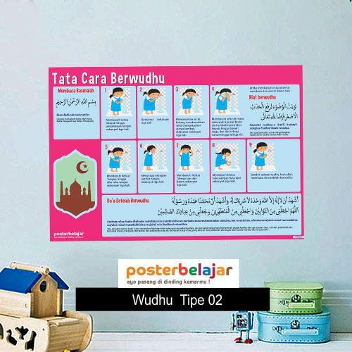 Wudhu Tipe 2 poster belajar mainan anak edukatif edukasi bahasa inggris alat peraga 96