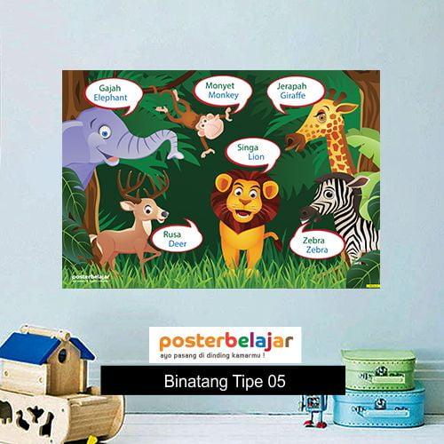 POSBEL Binatang tipe 5 poster belajar mainan anak edukatif edukasi bahasa inggris alat peraga pendidikan