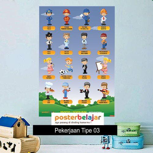 POSBEL Pekerjaan tipe 3 poster belajar mainan anak edukatif edukasi bahasa inggris alat peraga pendidikan