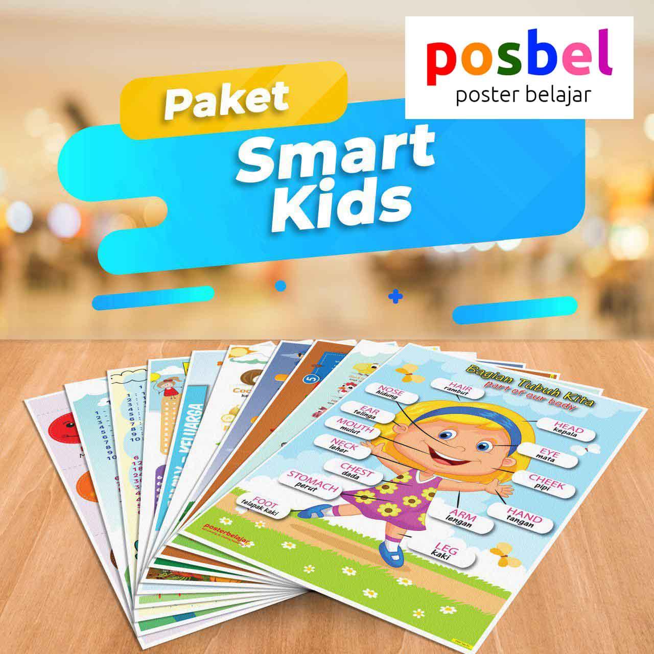 POSBEL paket Smart kids isi 10 poster belajar mainan anak edukatif edukasi bahasa inggris alat peraga pendidikan