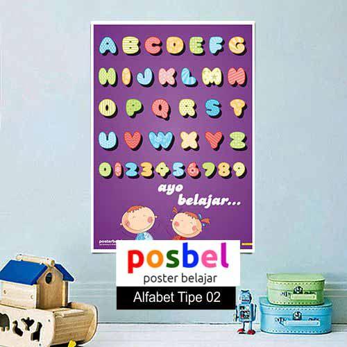 Alfabet tipe 2 poster belajar mainan anak edukatif edukasi bahasa inggris alat peraga