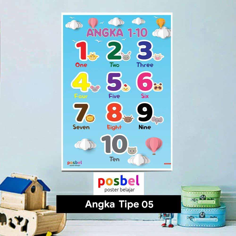 Angka tipe 5 poster belajar mainan anak edukatif edukasi bahasa inggris alat peraga