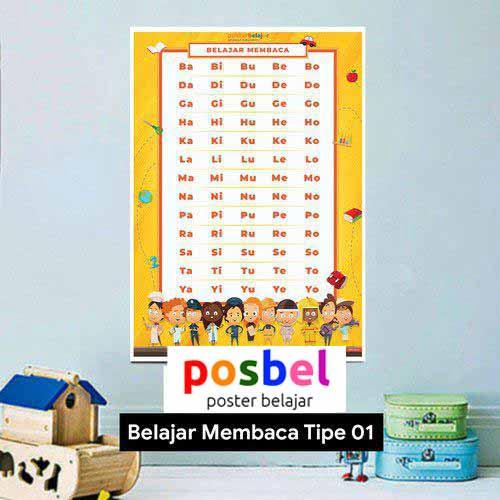 Belajar Membaca tipe 1 poster belajar mainan anak edukatif edukasi bahasa inggris alat peraga