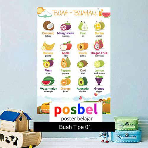 Buah-buahan Tipe 01 poster belajar mainan anak edukatif edukasi bahasa inggris alat peraga