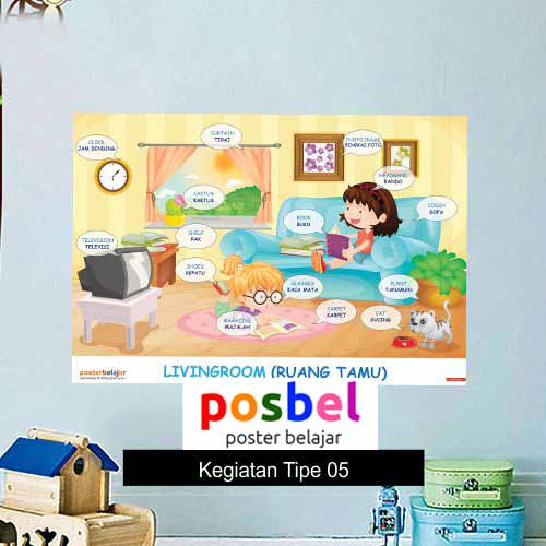 Kegiatan Tipe 5 poster belajar mainan anak edukatif edukasi bahasa inggris alat peraga