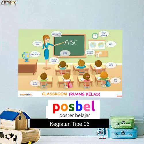 Kegiatan Tipe 6 poster belajar mainan anak edukatif edukasi bahasa inggris alat peraga