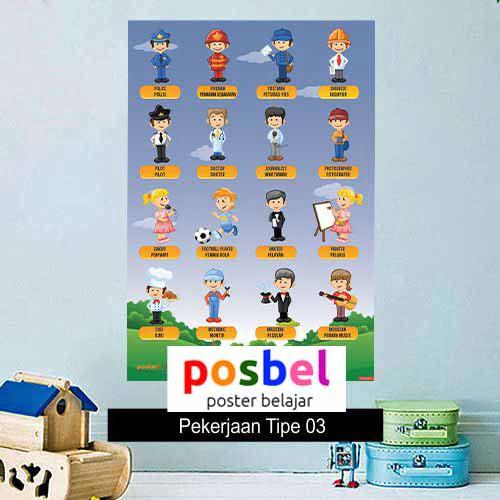 Pekerjaan Tipe 3 poster belajar mainan anak edukatif edukasi bahasa inggris alat peraga