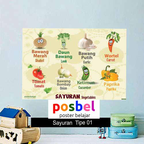 Sayur-sayuran Tipe 01 poster belajar mainan anak edukatif edukasi bahasa inggris alat peraga