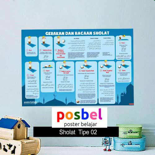 Sholat Tipe 2 poster belajar mainan anak edukatif edukasi bahasa inggris alat peraga 94