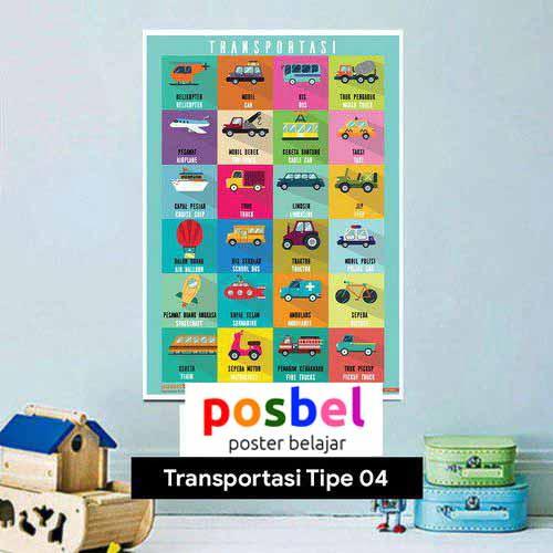 Transportasi tipe 4 poster belajar mainan anak edukatif edukasi bahasa inggris alat peraga
