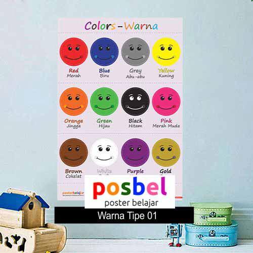 Warna poster belajar mainan anak edukatif edukasi bahasa inggris alat peraga 100
