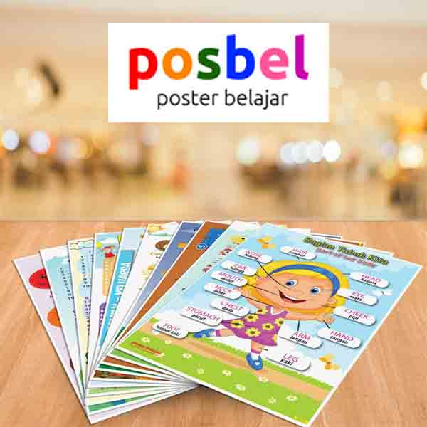 a1 POSBEL poster belajar mainan edukasi edukatif alat peraga pendidikan bahasa inggris anak