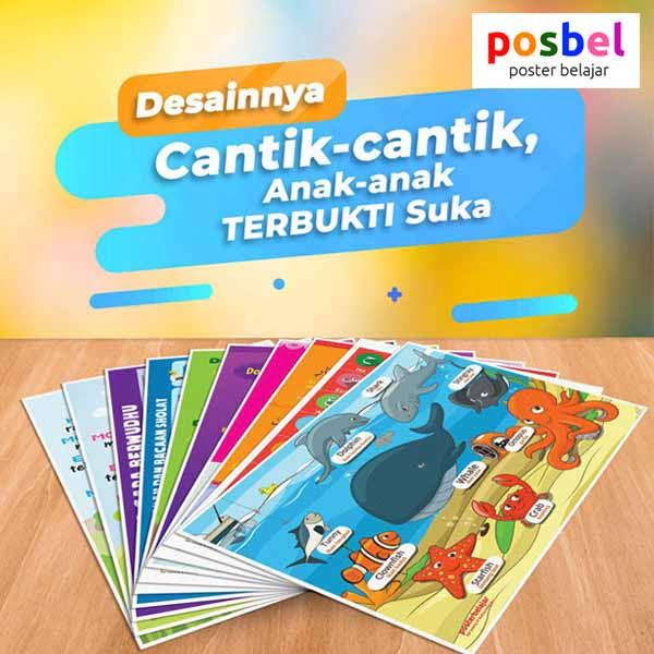 a3 POSBEL poster belajar mainan edukasi edukatif alat peraga pendidikan bahasa inggris anak
