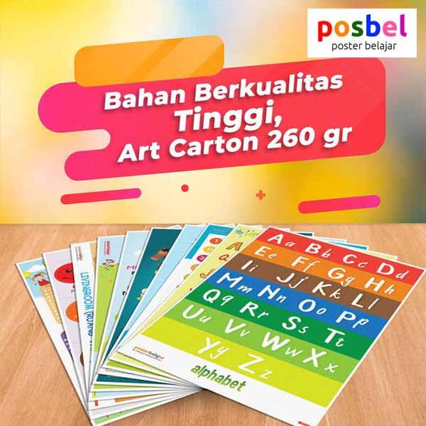 a8 POSBEL poster belajar mainan edukasi edukatif alat peraga pendidikan bahasa inggris anak