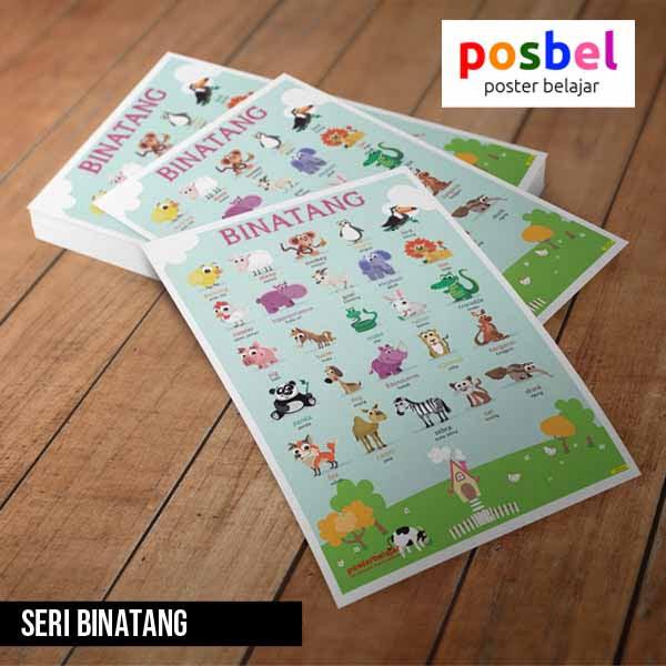 seri binatang posbel poster belajar mainan edukasi edukatif alat peraga pendidikan anak
