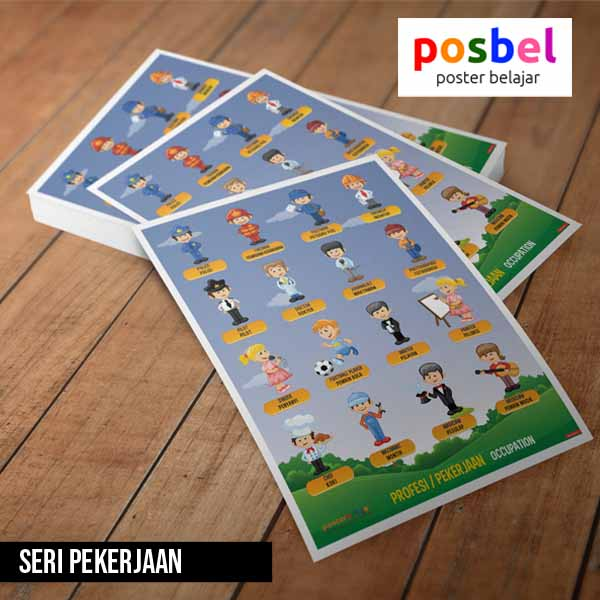 seri pekerjaan posbel poster belajar mainan edukasi edukatif alat peraga pendidikan anak
