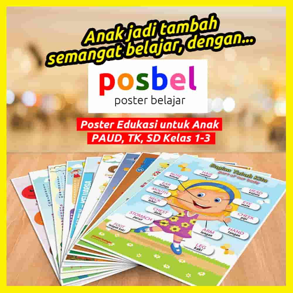 1 anak jadi FB POSBEL poster belajar mainan edukasi edukatif dinding pendidikan anak perempuan laki laki PAUD TK SD-min