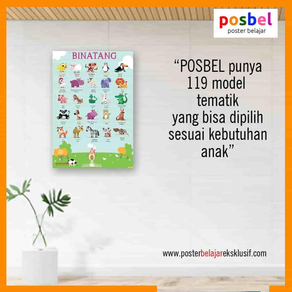 7 a binatang 8 iklan dinding FB POSBEL poster belajar mainan edukasi edukatif dinding pendidikan anak perempuan laki laki PAUD TK SD-min