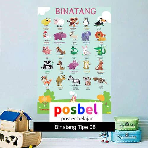 Binatang tipe 8 poster belajar mainan anak edukatif edukasi bahasa inggris alat peraga -min
