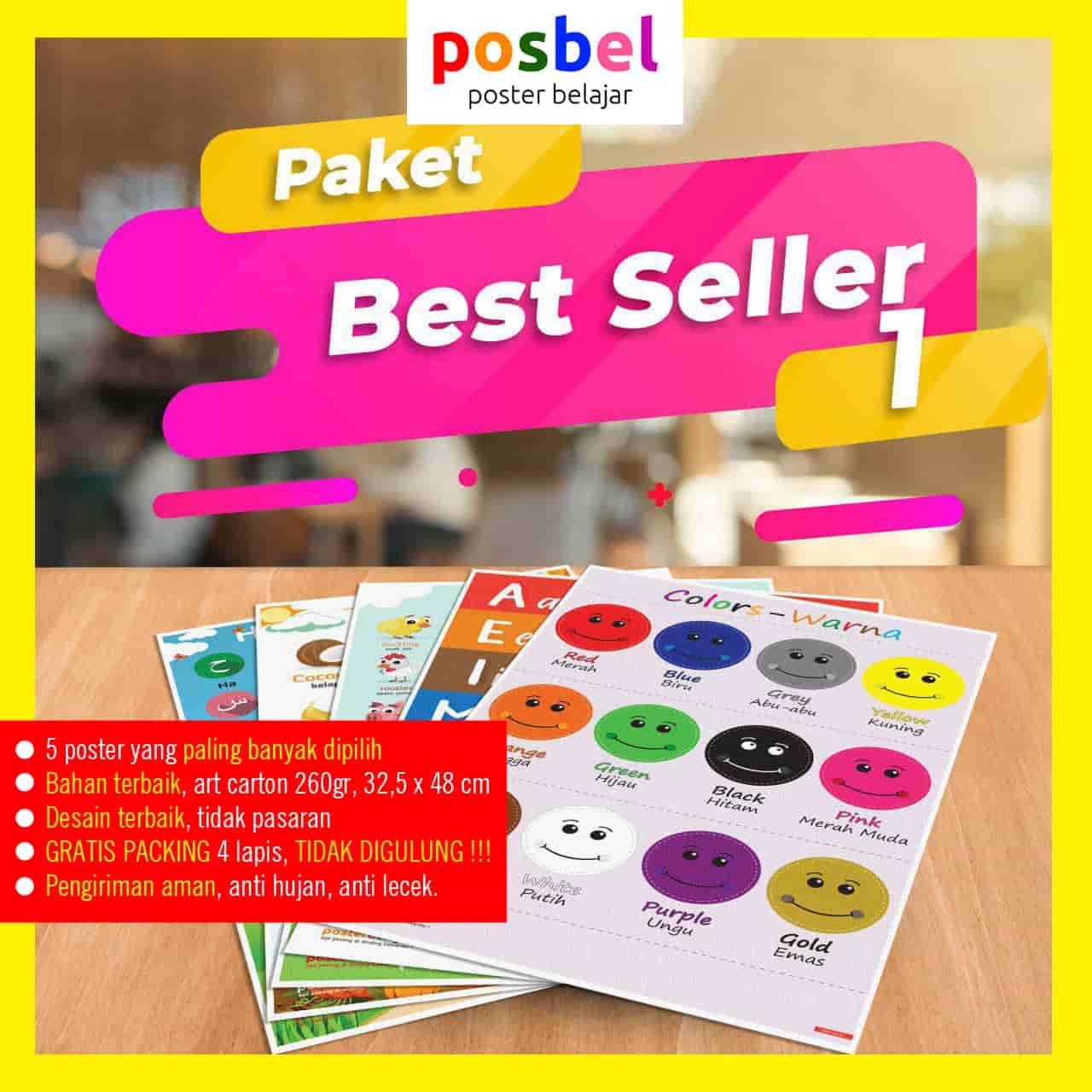 bingkai POSBEL paket best seller 1 poster belajar mainan anak edukatif edukasi bahasa inggris alat peraga-min