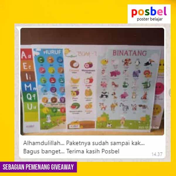 10 pemenang giveaway mainan poster edukasi edukatif anak laki laki perempuan alat peraga pendidikan posbel
