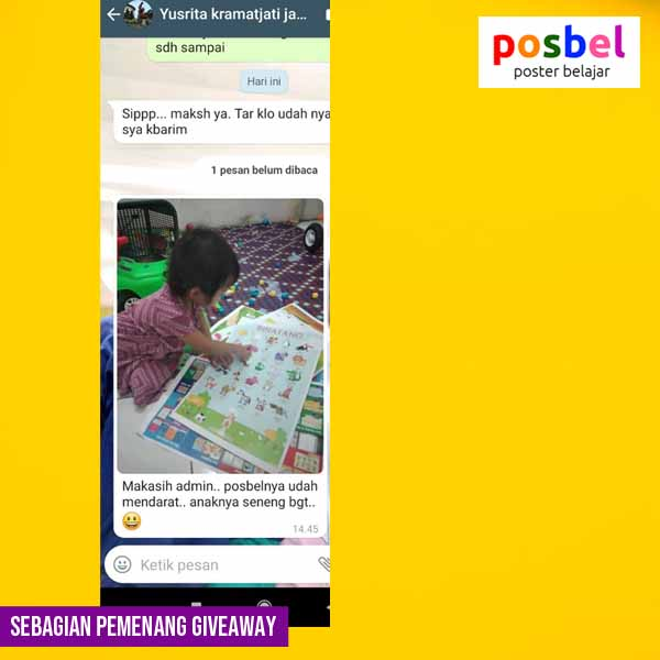 4 pemenang giveaway mainan poster edukasi edukatif anak laki laki perempuan alat peraga pendidikan posbel