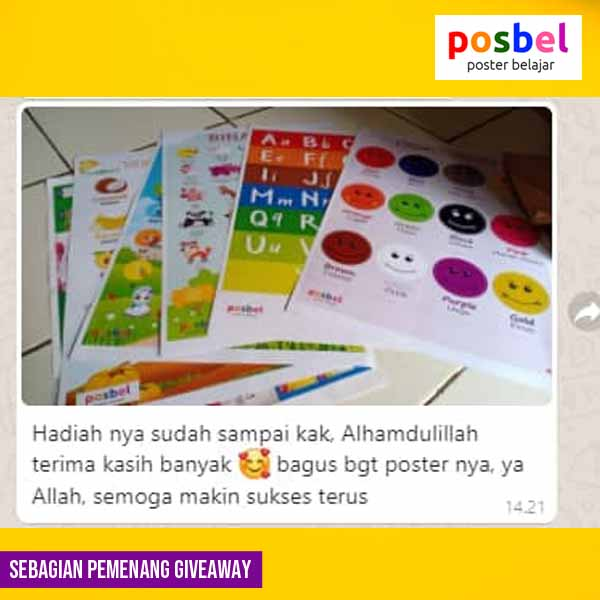 9 pemenang giveaway mainan poster edukasi edukatif anak laki laki perempuan alat peraga pendidikan posbel