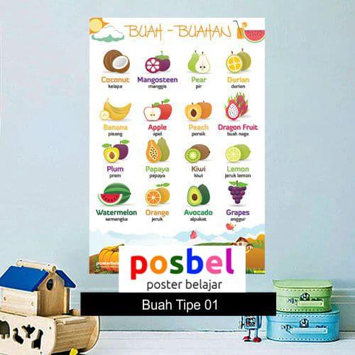 Buah-buahan Tipe 01 poster belajar mainan anak edukatif edukasi bahasa inggris alat peraga -min