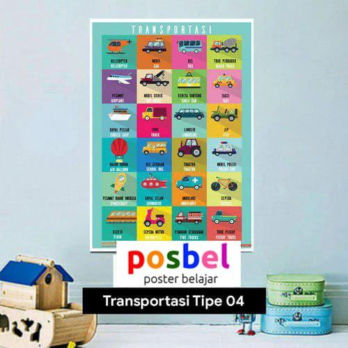 Transportasi tipe 4 poster belajar mainan anak edukatif edukasi bahasa inggris alat peraga-min