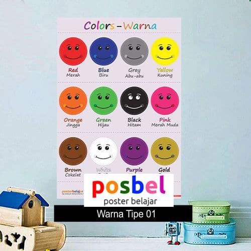 Warna poster belajar mainan anak edukatif edukasi bahasa inggris alat peraga 100-min
