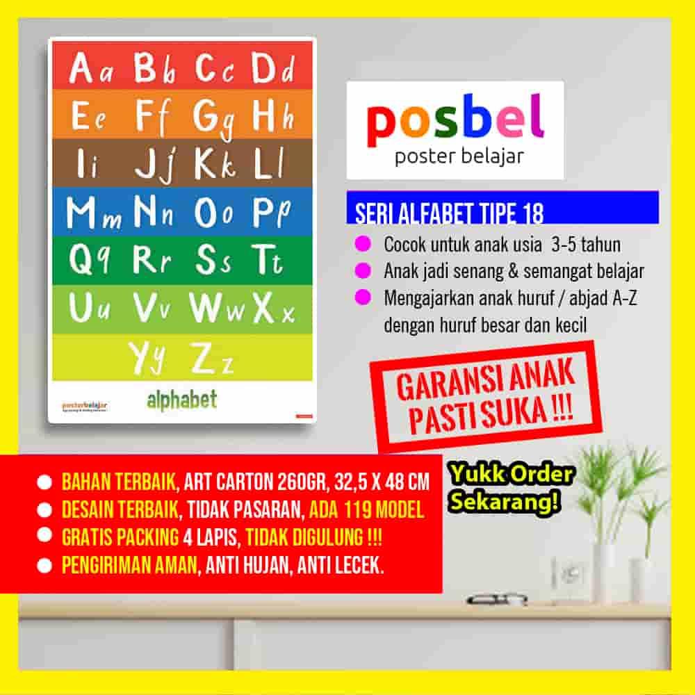 alfabet 18 portrait POSBEL poster belajar mainan edukasi edukatif dinding pendidikan anak laki laki perempuan PAUD TK SD-min