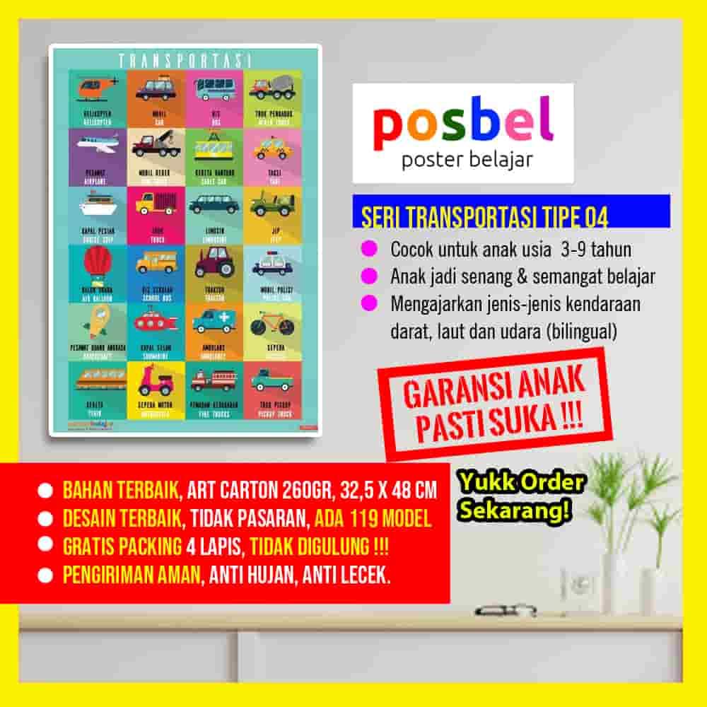 transporatsi 4 portrait POSBEL poster belajar mainan edukasi edukatif dinding pendidikan anak laki laki perempuan PAUD TK SD-min