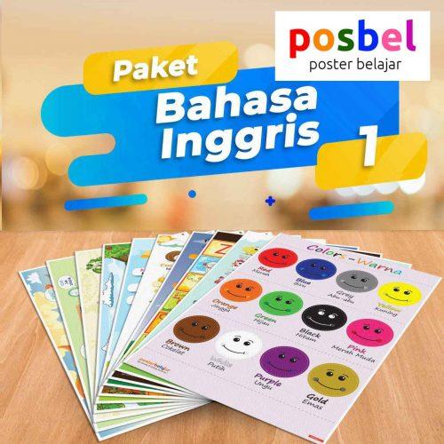POSBEL paket bahasa inggris 1 isi 10 poster belajar mainan anak edukatif edukasi bahasa inggris alat peraga pendidikan