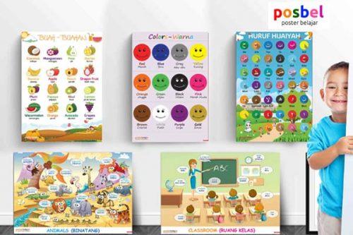 ac POSBEL poster belajar mainan edukasi edukatif alat peraga pendidikan bahasa inggris anak